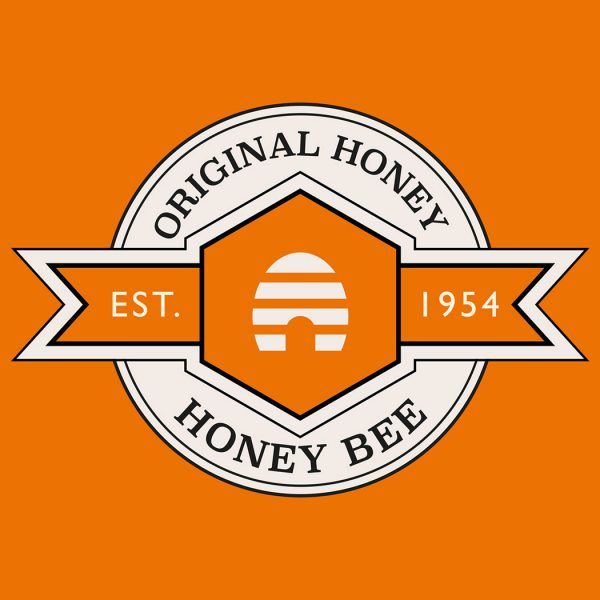 Brand logo for 'Honey Bee' designed for Amber House by packaging design agency - Flipflop Design Ltd.