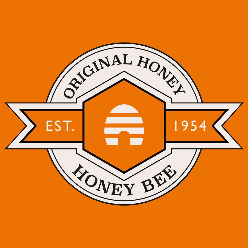 Brand logo for 'Honey Bee' designed for Amber House by packaging design agency - Flipflop Design Ltd.