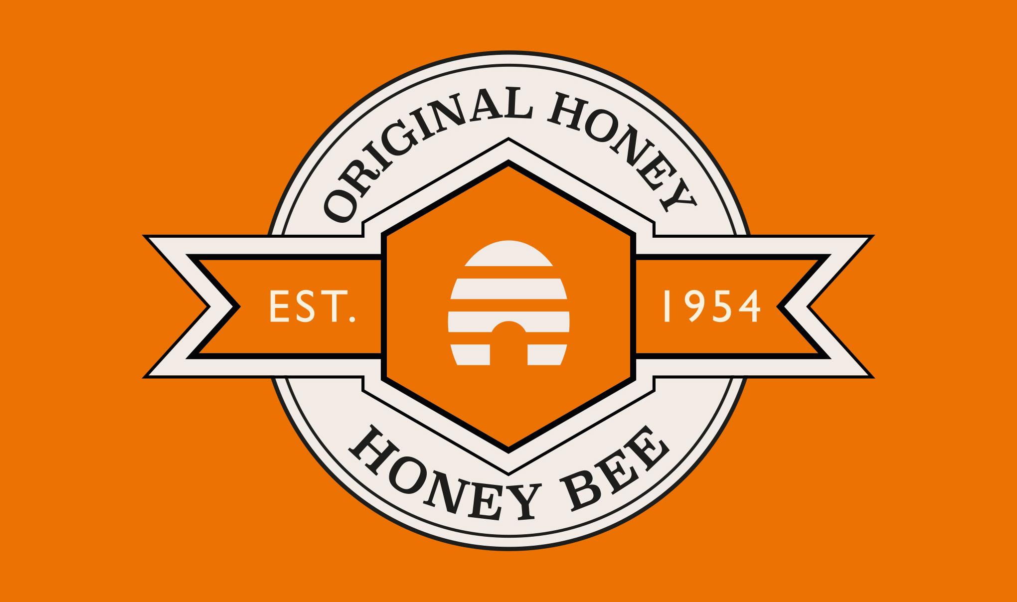 Brand logo for 'Honey Bee' on on orange background. Designed for Amber House by packaging design agency - Flipflop Design Ltd.