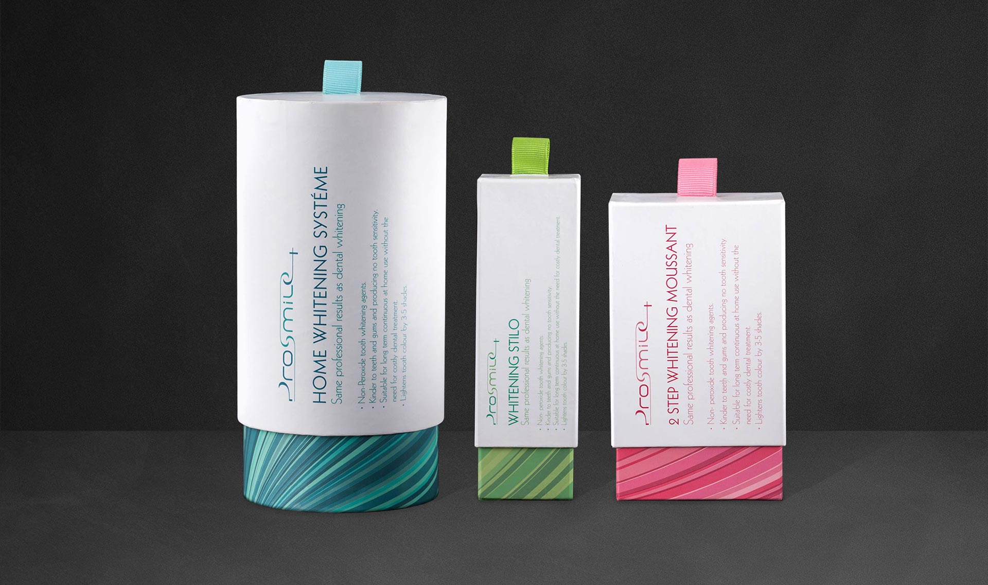 Healthcare Packaging design for Prosmile+ Teeth whitening products. x 3 product line up.
