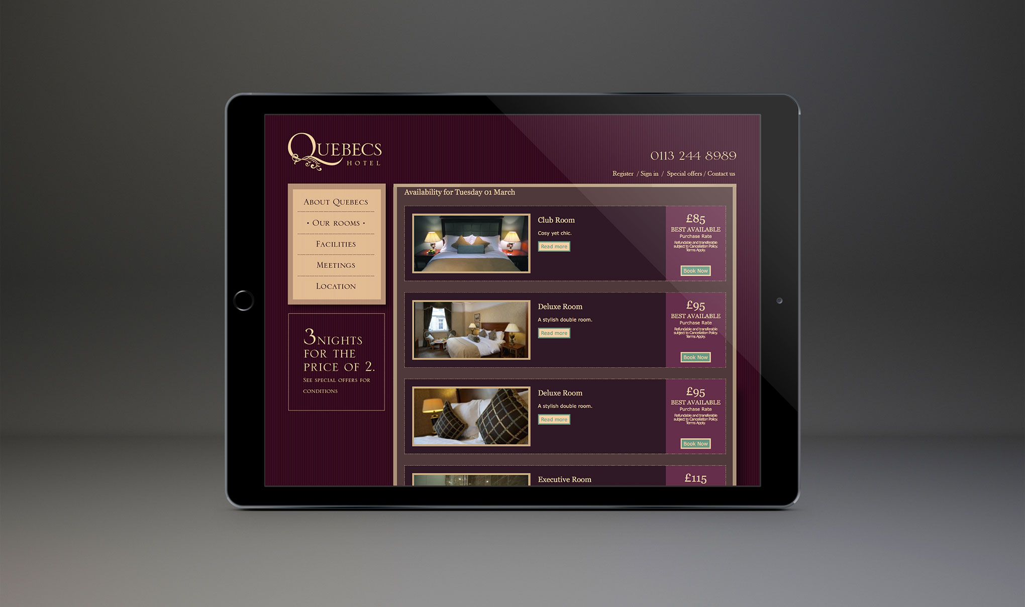 Website design - page showing additional extras which can be booked with a room for Quebecs hotel, Leeds. Designed by Web Design Agency - Flipflop Design Ltd.
