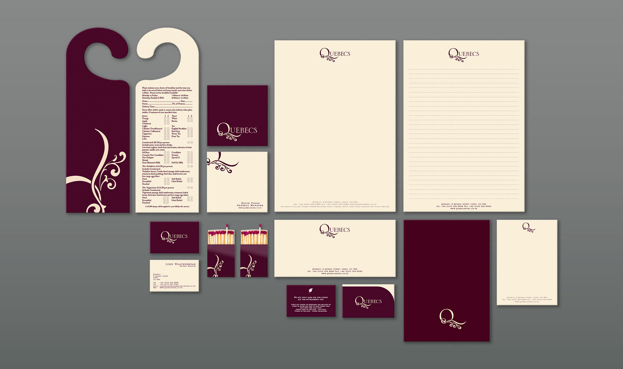 Brand identity for Quebecs Hotel, Leeds. Image shows a selection of stationery and marketing materials. Created by brand design agency Flipflop Design