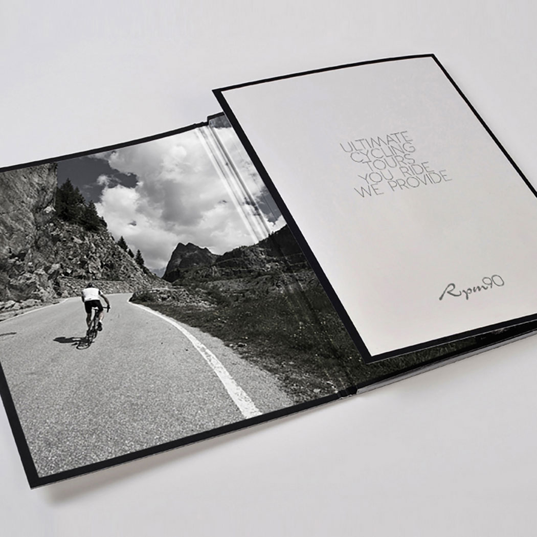 Vintage/Retro style brochure design for RPM90 Cycling Tours.