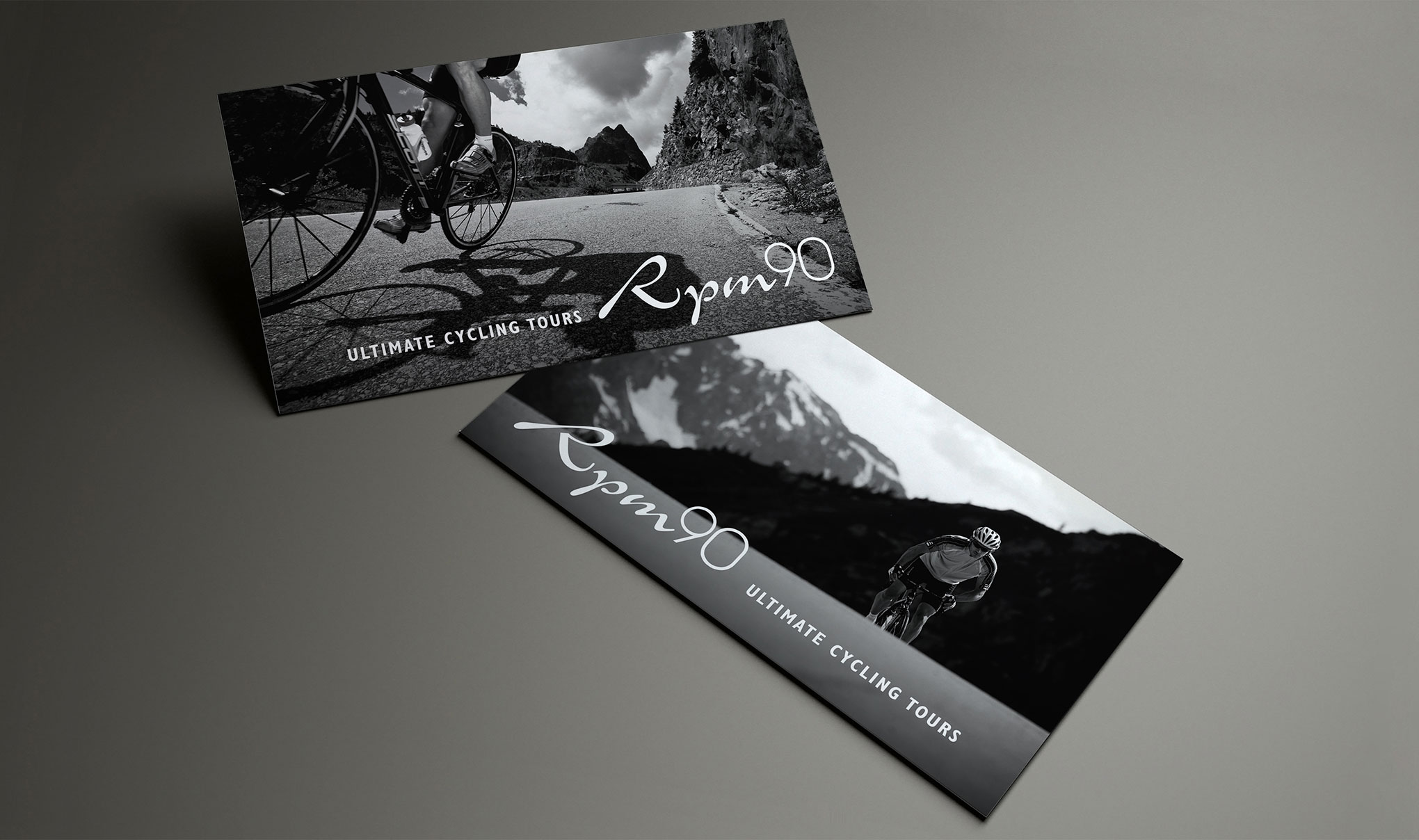 Business card design for RPM90 Cycling Tours