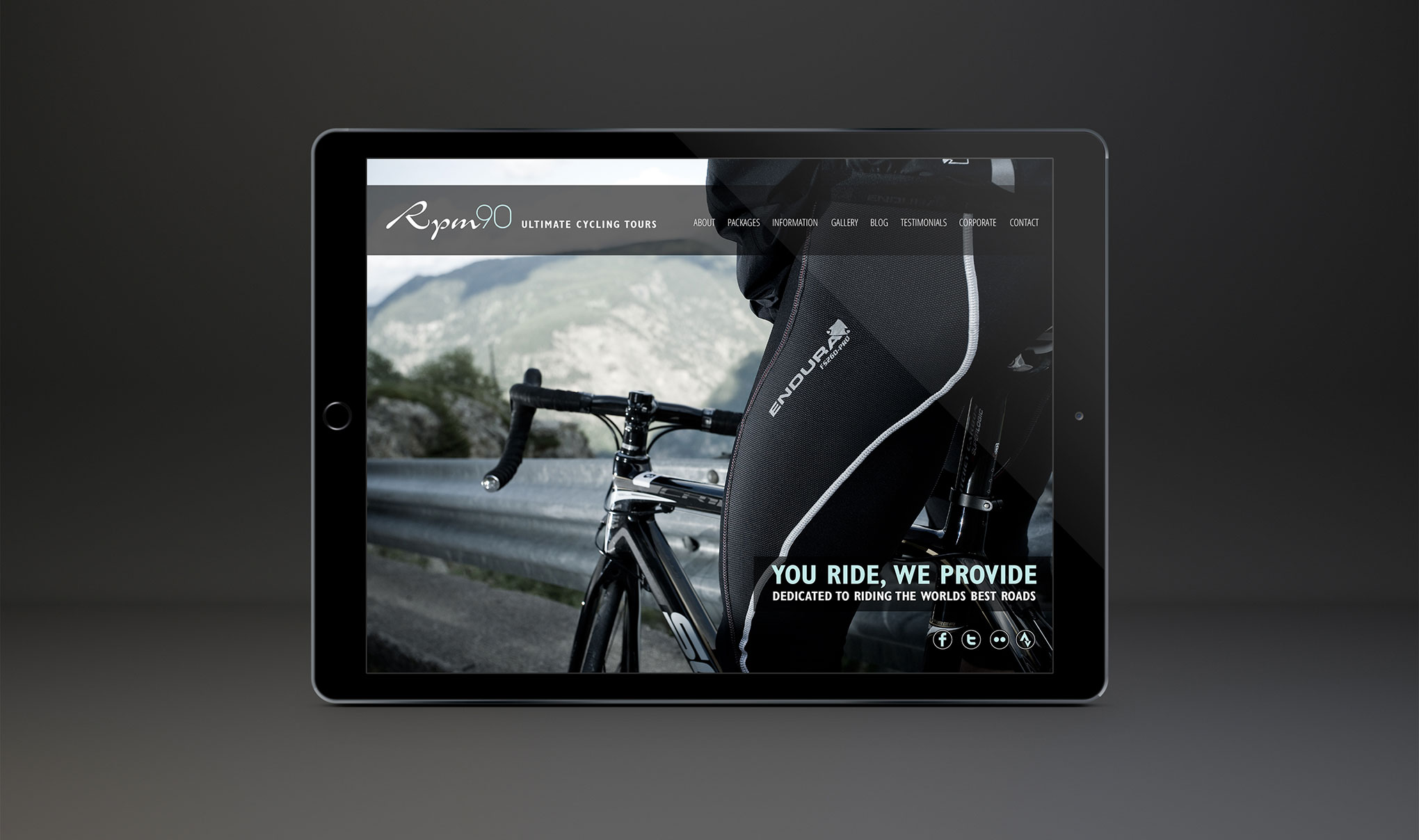 Web Design for RPM90 cycling holidays - Home page.