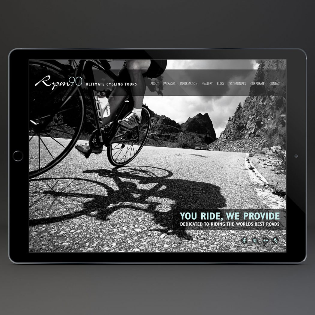 Web Design for RPM90 cycling holidays - Home page 2nd image