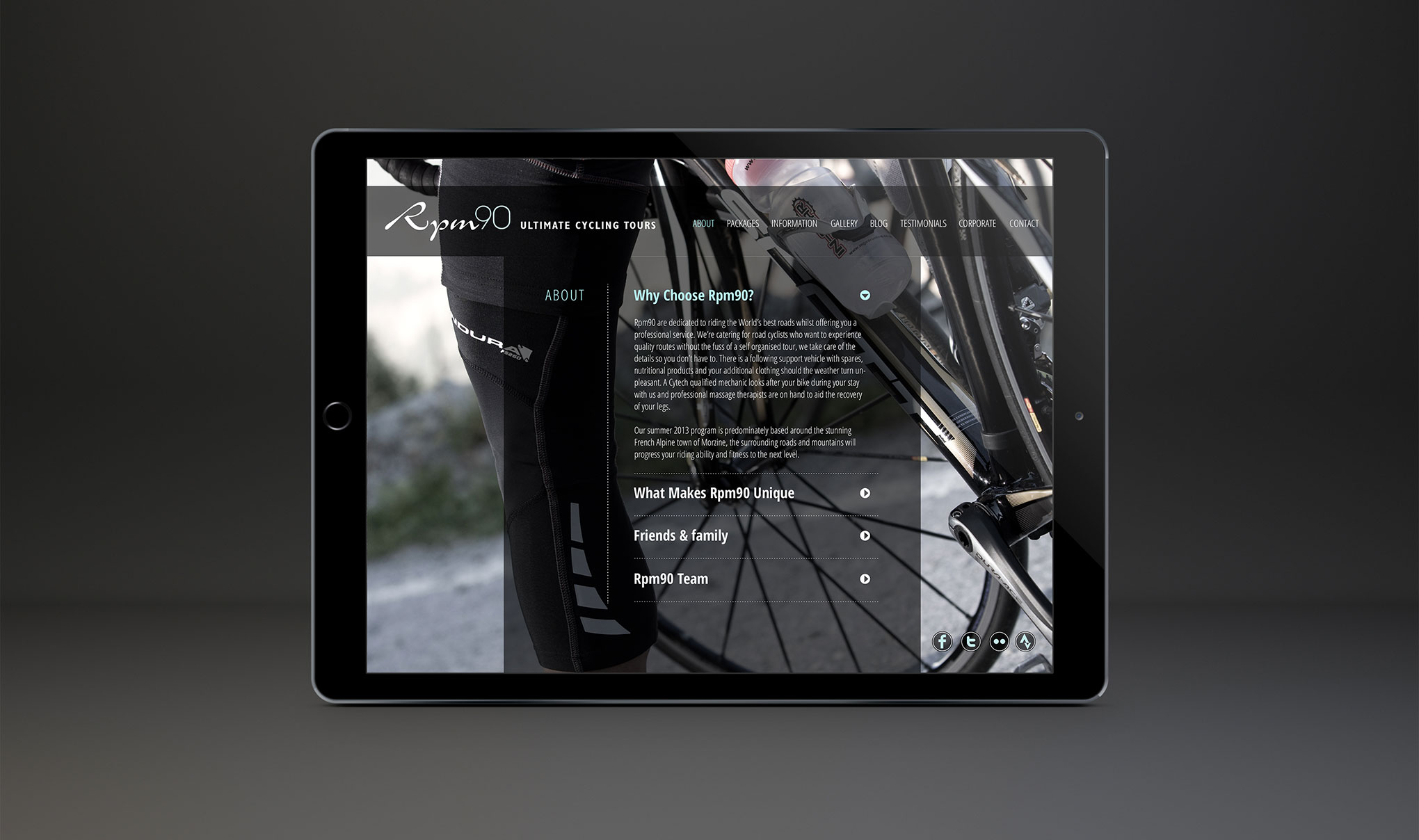 Web Design for RPM90 cycling holidays - About us page.