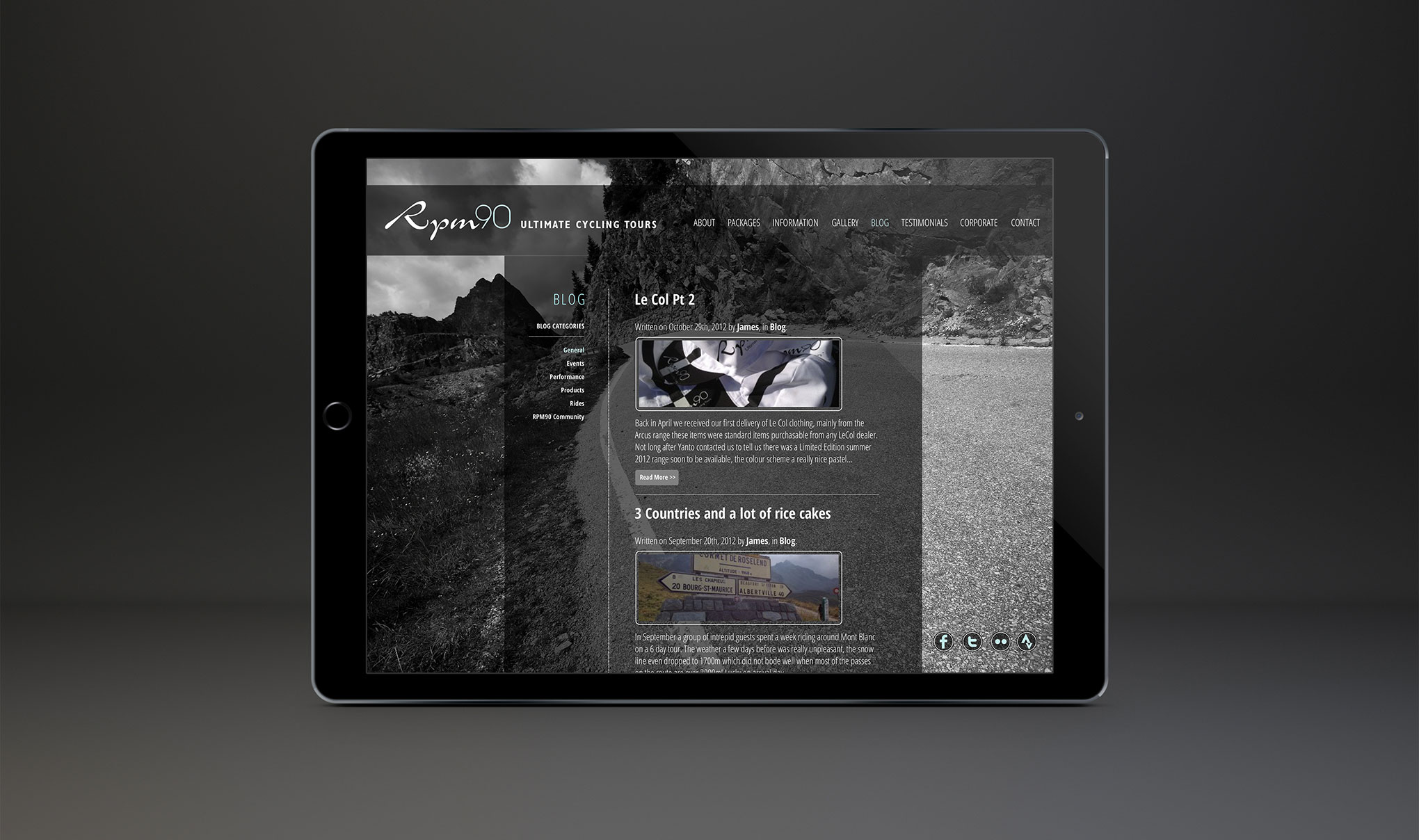 Web Design for RPM90 cycling holidays - Blog page.