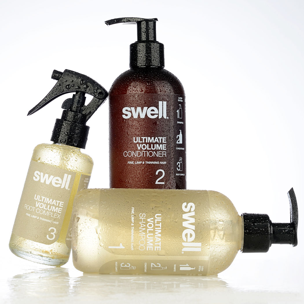 Haircare packaging design for Swell Hair. Packaging design by Flipflop Design Agency.