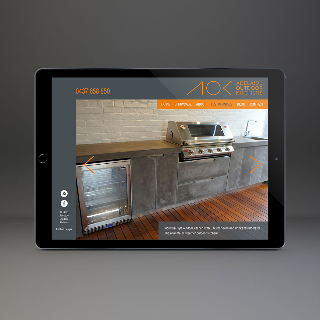 Web design for Adelaie Outdoor Kitchens-home page. Website designed by Flipflop Design, Brighton.