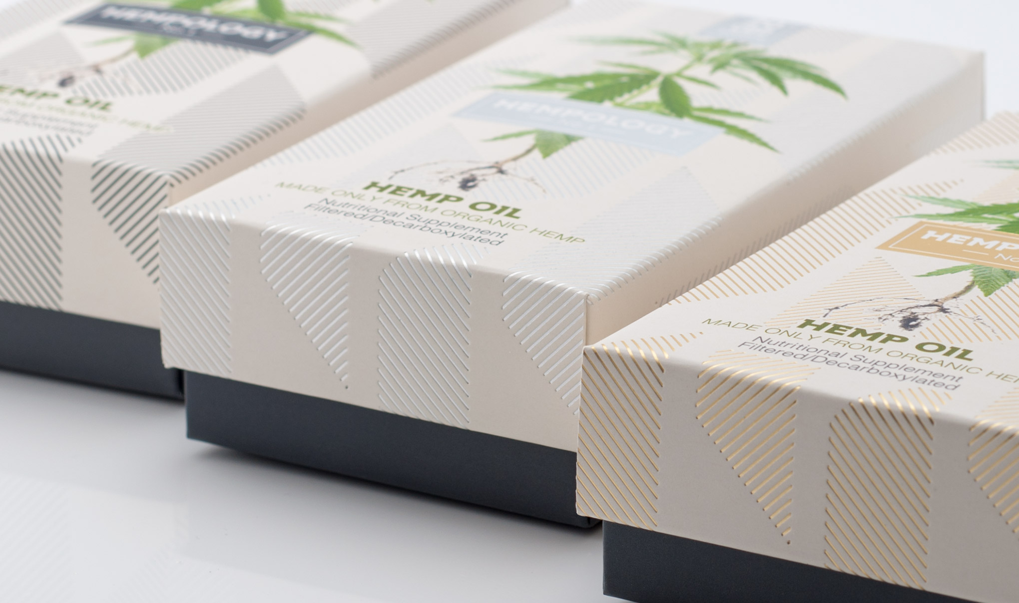 Hempology CBD Oil Packaging Close up Image. Designed by Flipflop Design Agency, Brighton.