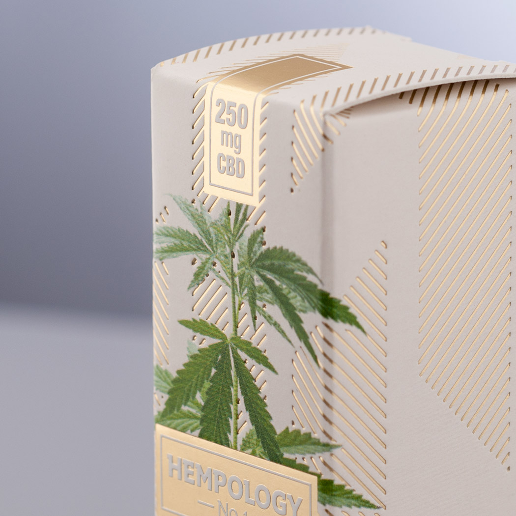 Hempology CBD E-Liquid Packaging Close up Image. Designed by Flipflop Design Agency, Brighton.
