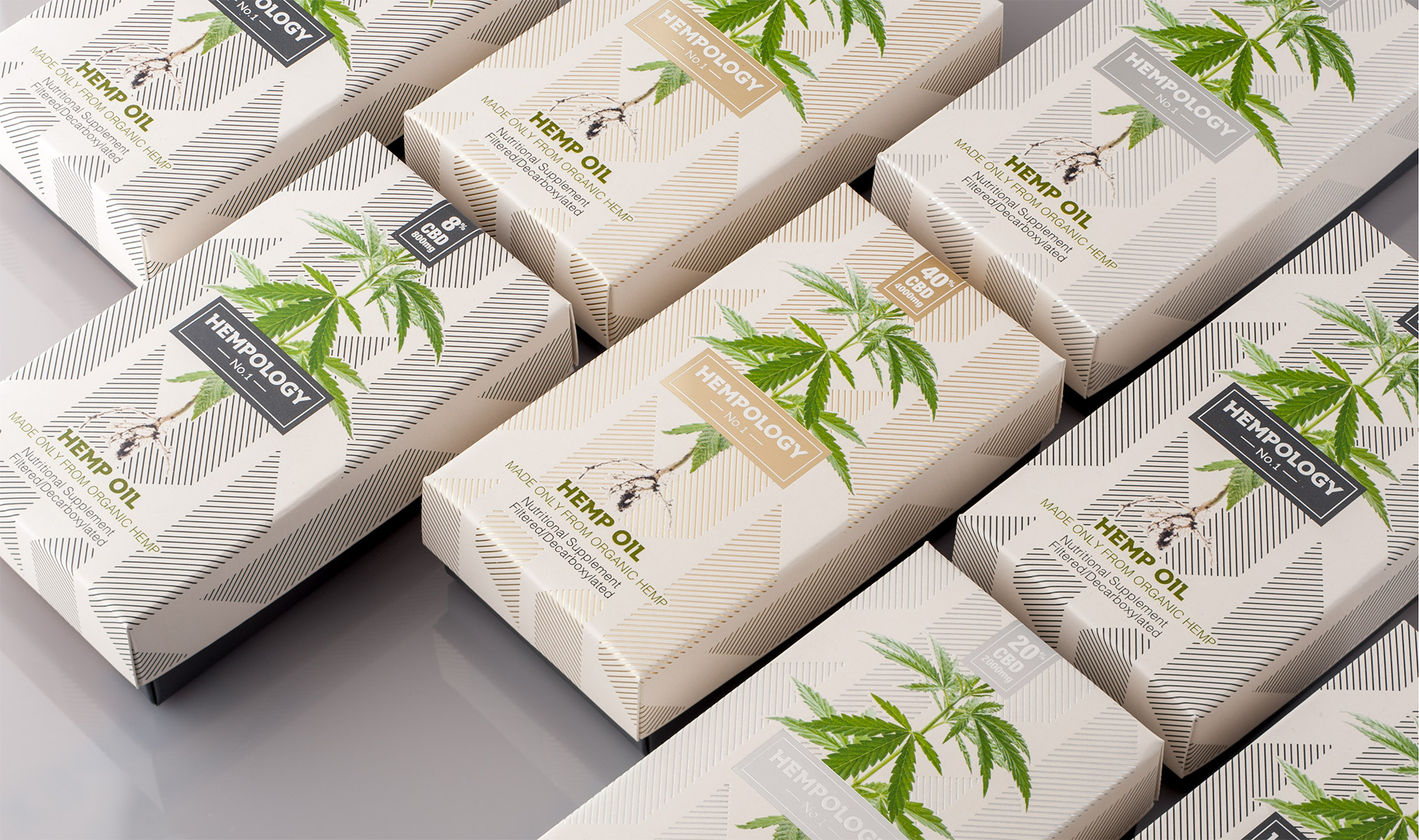 Hempology CBD Oil Packaging Range Line up. Designed by Flipflop Design Agency, Brighton.