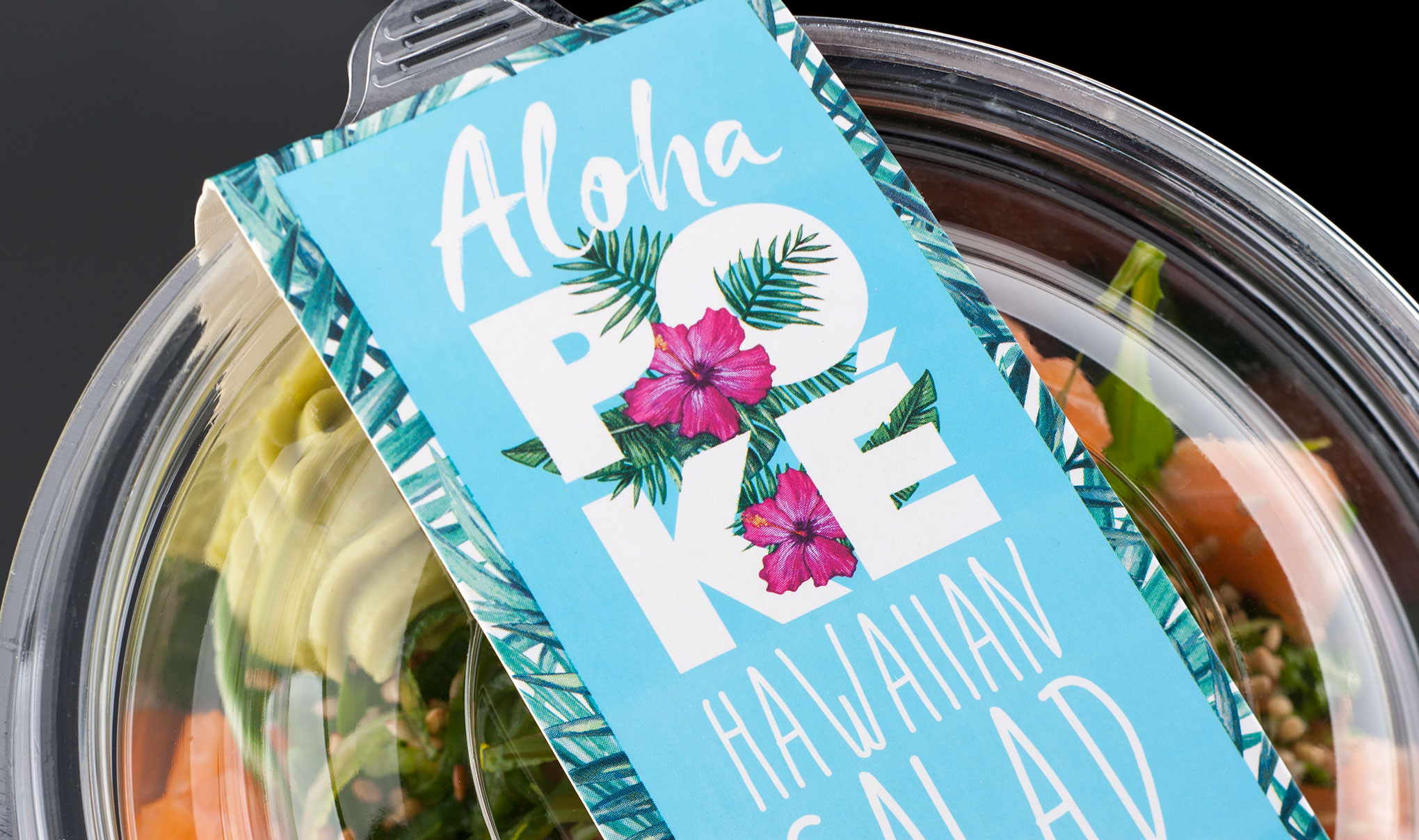 Creative food packaging design - Waitrose Aloha Poké Salmon Bowl - Creative design agency, Flipflop Design