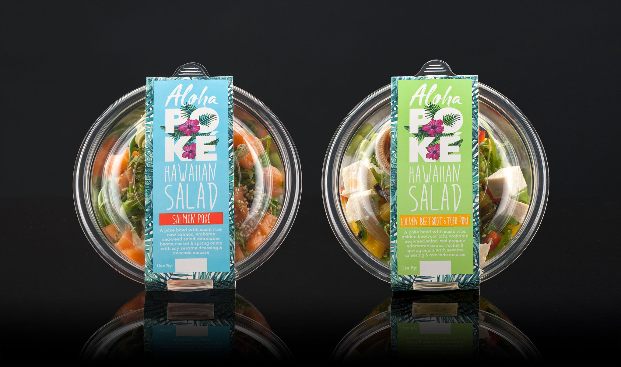 Creative food packaging design - Waitrose Aloha Poké - Creative design agency, Flipflop Design