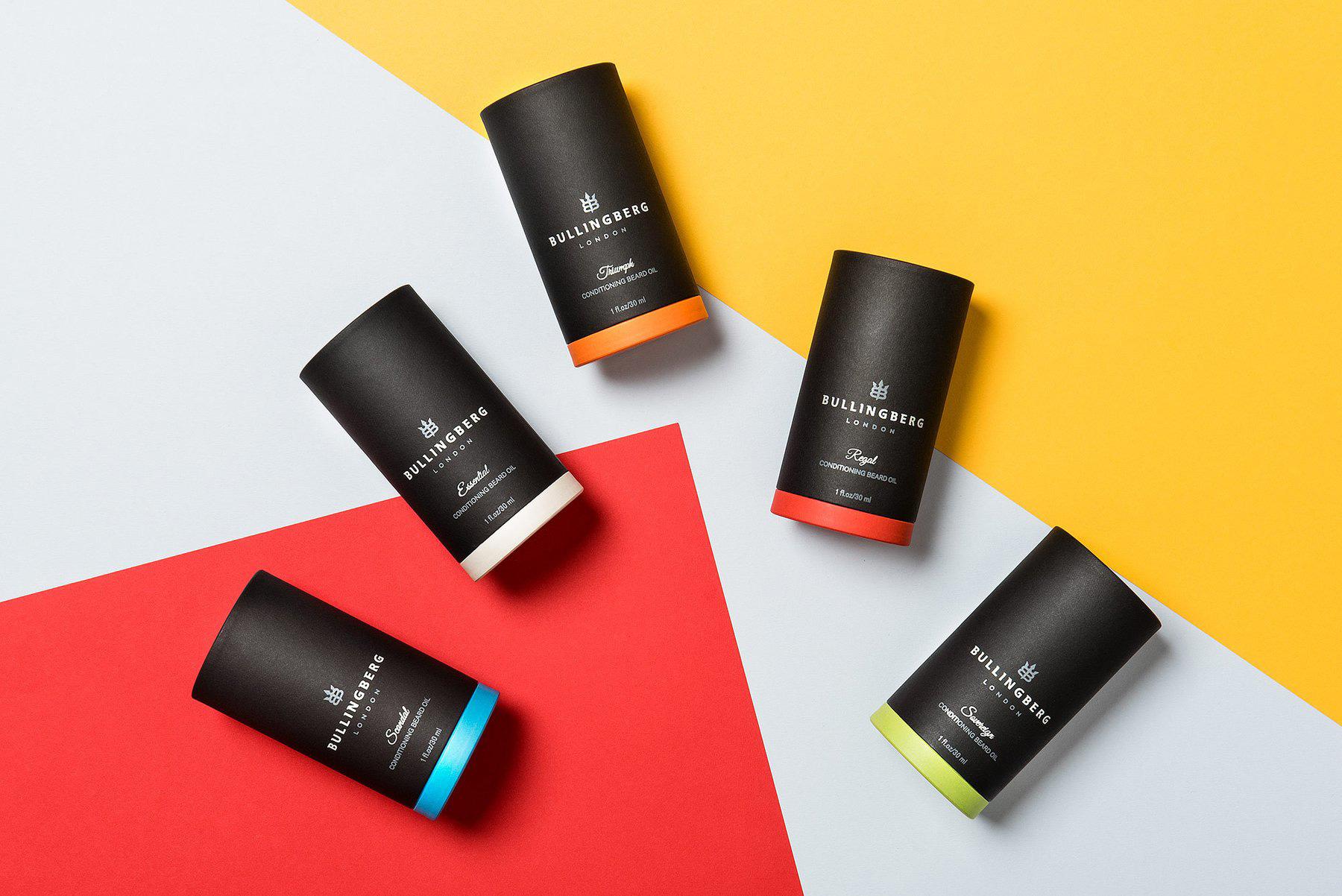 Bullingberg Packaging for Lucy Beard Oil. Full Range line up Designed by Flipflop Design Agency