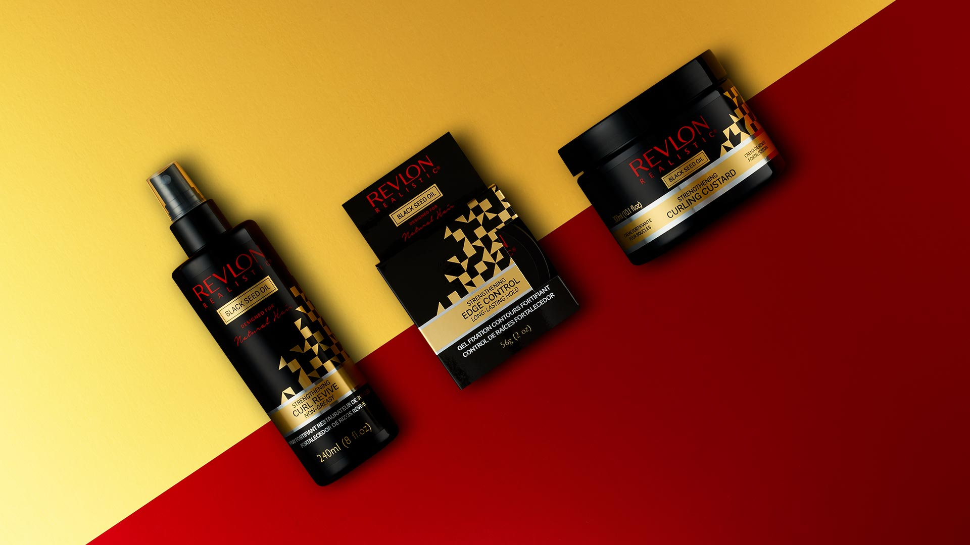 Branding and packaging of Revlon Realistic Natural Hair products - Brighton Design Agency - Flipflop Design