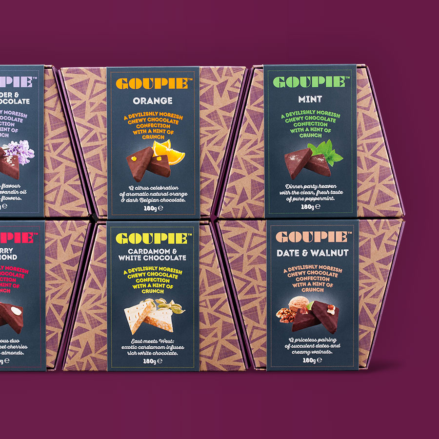 Structural Carton Packaging Design for Goupie chocolate