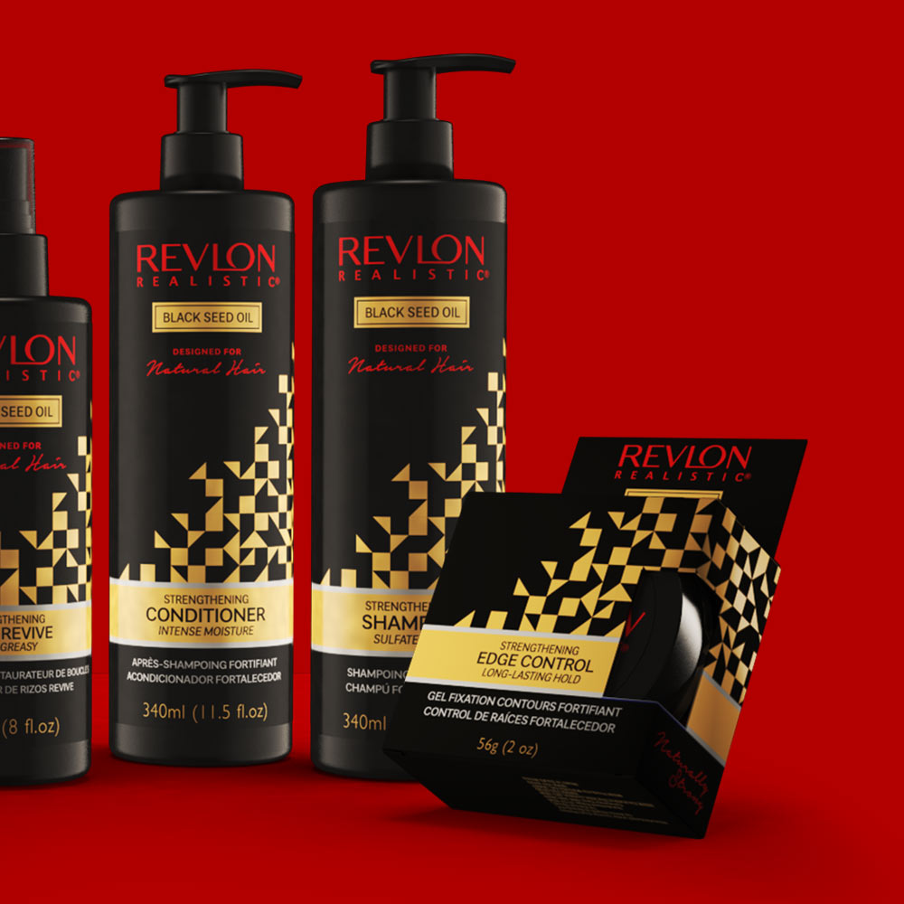3D visualisation of Revlon Realistic Haircare Packaging