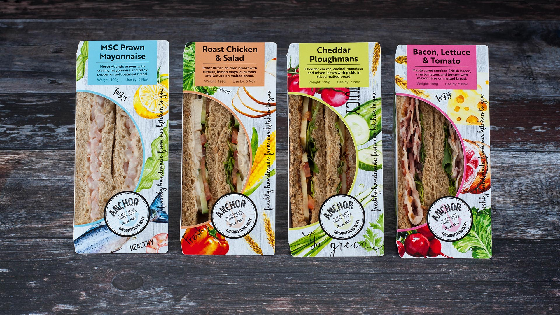 Colour Categorised Sandwich Package Design - Packaging Designers - Flipflop Design