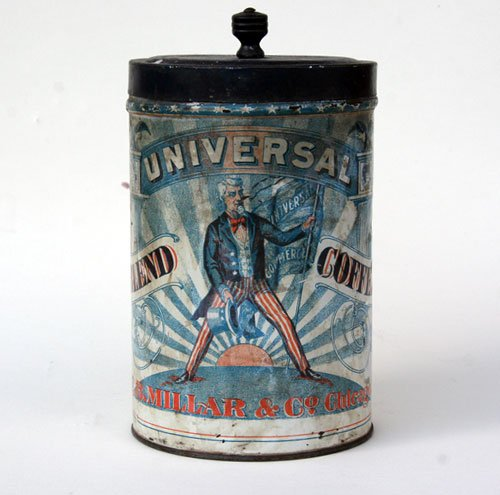 Coffee can packaging from the 1800's