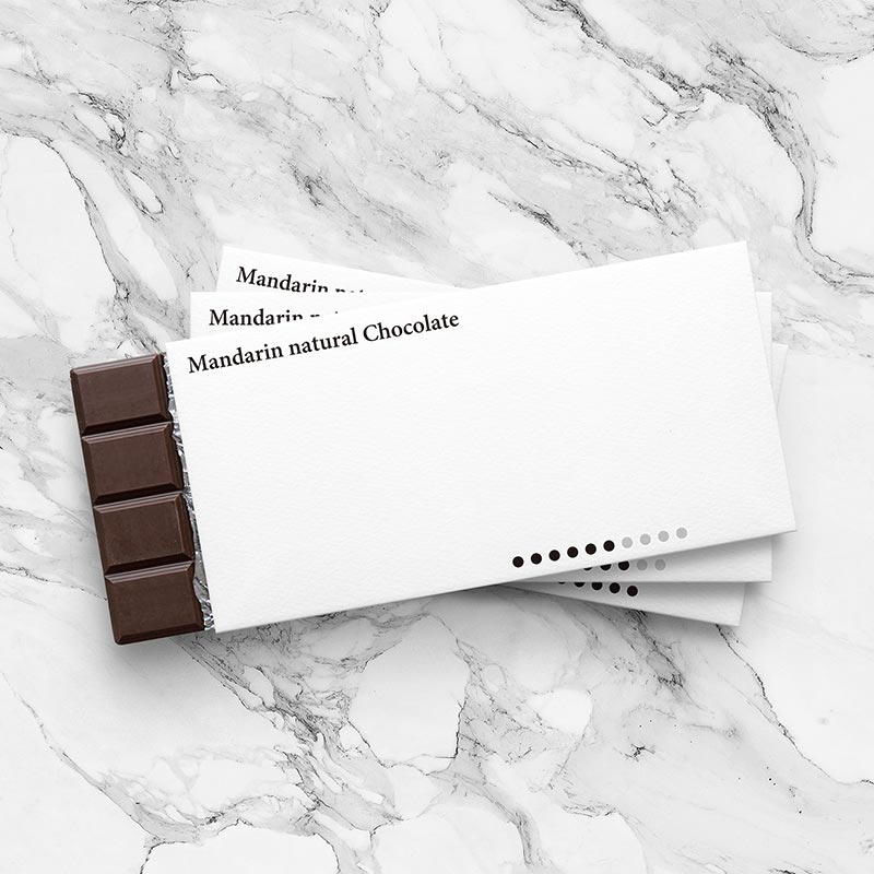Minimalist packaging design for Mandarin natural Chocolate