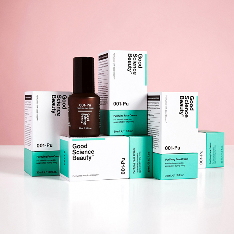 Minimalist skincare packaging for Good Science Beauty