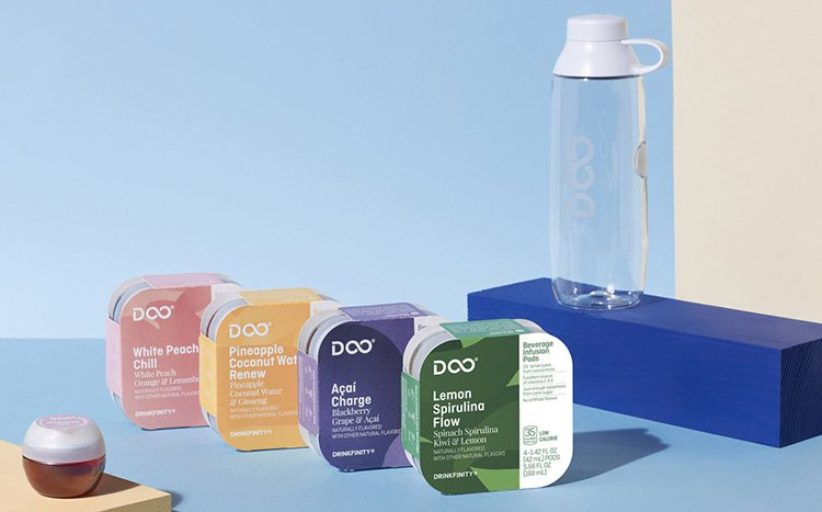 Reusable water bottles and accompanying pods